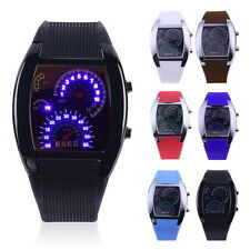 Mens Sports RPM Turbo Blue Flash LED Sports Car Meter Dial Watch Wristwatch NeNL