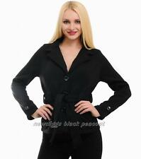 Black Peacoat Single Breasted Crop Peacoat Jacket with Belt Size Sm or Med