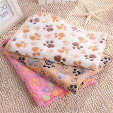 Various Warm Pet Mat Small Paw Print Cat Dog Puppy Fleece Soft Bed Blanket S M L