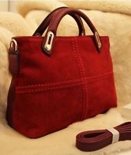 Classic Leather Women Handbag Red Totes Messenger / Shoulder Bag