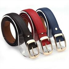 Women Fashion Casual Faux Leather Metal Buckle Straps Belt