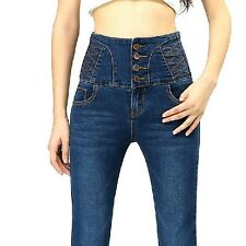 Women Big Yards Breasted Waist Casual Slim Was Thin Pencil Pants Trouser