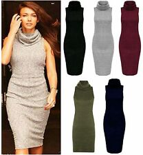 Women Knitted Turtle Cowl Neck Midi Top Ladies Bodycon Party Dress Plus UK 8-18