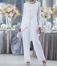 Mother Bride Groom Women's Wedding beaded dress 3PC duster pant suit plus 1X2X3X