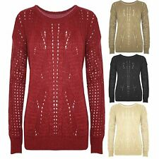 New Womens Ladies Long Sleeve Cable Chunky Knit Sweater Pullover Jumper Long Top