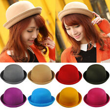 Women's Lady Vintage Wool Cute Trendy Bowler Fedora Derby Hat Fashion Caps NEW