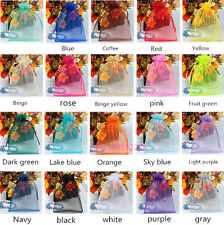 Hot! 25/100pcs Jewelry Candy Organza Pouch Bags Wedding Party Favor Gift 9x12cm