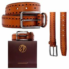 New CP Logo Pattern Hole Design Mens Brown Leather Pin Buckle Belts S-3XL