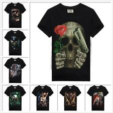 100% Cotton Men's Unisex Women's Short Sleeves Casual T-Shirt/Top Skull Pattern