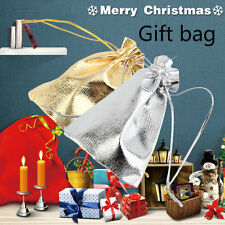 50Pcs/lot 10*12cm Golden/Silver Drawstring Organza Pouch Wedding Gift Bag BE