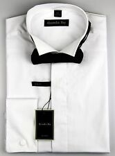 Alexander Hay Mens White Evening Wing Collar Dress Shirt Slim Fit Bow Tie DSF004
