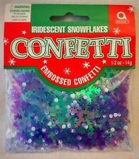 Christmas Iridescent Snowflakes Embossed Confetti Table Scatter Decorations
