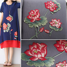 Art lotus flower Sew on/Iron on embroidered patch applique dress decor transfer