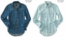 AERO Aeropostale Prince & Fox Denim Chambray Button Down Shirt   XS,S,M,L,XL,2XL