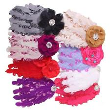 Trendy Babys Girls Lovely Feather Flower/Diamond Net Headwear Soft Headband