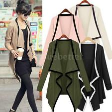 Women Long Sleeve Cardigan Open Front Draped Solid Casual Irregular Hem Jacket