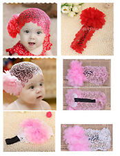 Baby Girls 6-24 Month Flower Lace Wide Headband Elastic Band Hairband Accessory