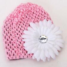 Cute Baby Infant Girl Versatile Crochet Beanie Hat Cap Rhinestone Hairclips