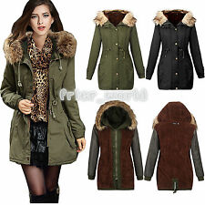 LADIES WOMENS JACKET HOODED WINTER MILITARY FLUFFY OVERSIZED PARKA COAT OUTWEAR