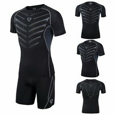 Men Compression Under Base Layer Top Tight Short Sleeve Fitness Sport T-Shirt