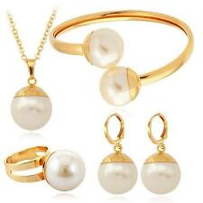 New Wedding Party Bridal Jewellery Pearl Necklace Earrings Ring Bracelet Set