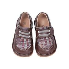 Boy's Leather Toddler Brown Plaid Squeaky Shoes Sizes 1 to 7 w/Free Stoppers