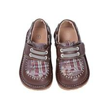 Boy's Leather Toddler Brown Plaid Squeaky Shoes