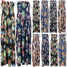 Womens Ruched Floral Print Boobtube Strapless Ruched Gypsy Swing Maxi Dress