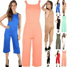 Womens Ladies 3/4 Length All In One Dungaree Wide Leg Playsuit Palazzo Jumpsuit