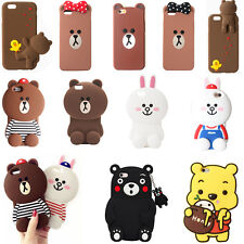 3D Cartoon Bear Bunny Animals Soft Silicone Case Cover For iPhone 5 6 7 Plus