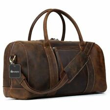 Vintage Genuine Leather Handbag Weekender Duffle Carry on Travel Bag - Brown