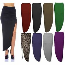 New Womens Leopard Side Slit Splited Ruched Printed Maxi Gypsy Skirt Size 8-14