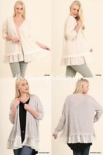 NWT UMGEE Lightweight Spring Open Cardi Cardigan Sweater Jacket Sheer Ruffle Hem