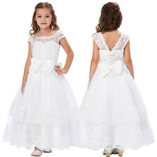 Cap Sleeve Flower Girl Princess Bridesmaid Pageant Party Wedding Lace Dress NEW