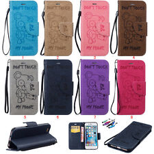 Embossed bear Card Slot Flip Stand Magnetic Wallet Leather Case Cover For iPhone