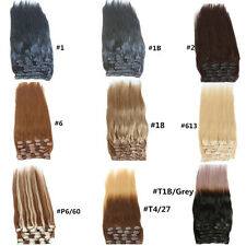 """22"""" 10PCS THICK DELUXE Clip In Remy Human Hair Extensions Black Brown Blonde"""