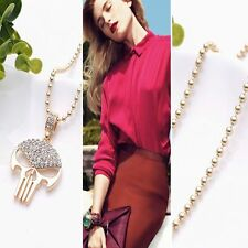 Long Gothic Punk Chain Skull Pendant Gold Silver Plated Necklace