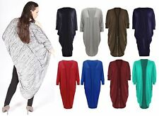 Womens Ladies Open Cocoon Batwing Sleeve Midi Length Kimono Cacoon Cardigan