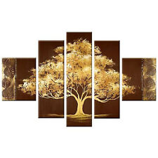 100% Hand Painted Golden Tree Modern Flowers Abstract Wall Art Home Room Decor