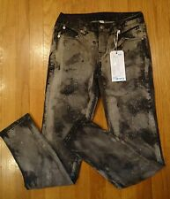 NWT Justice Jeans Simply Low Super Skinny Black/Gray Wash Glitter Girls Size 14