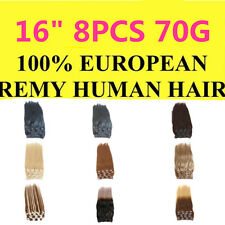 """Full Head Clip In 100% Remy Human Hair Extensions 16"""" 8PCS 70G"""