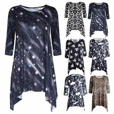 Womens Printed Stretchy Ladies 3/4 Sleeve Flared Hanky Hem Long Jersey Dress Top