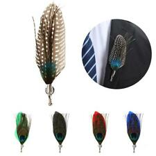 Men Peacook Feather Brooches Brooch Pins Corsage Wedding Party Cosplay Decor