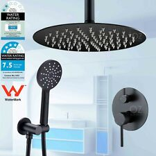 Black Round Thin Rain Shower Head Set+Handheld Spray+Ceiling Arm+Mixer Diverter