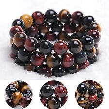 Natural Colorful Gift Jewelry Tiger's Eye Stone Bracelet Bangle Round Beads