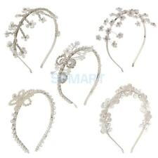 Ladies Bridal Crystal Floral Pearls Hairband Tiara Headband Wedding Headpiece