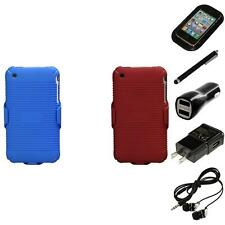 For Apple iPhone 3G / 3G S Hard Matte Holster Belt Clip 2-Piece Case Headphones
