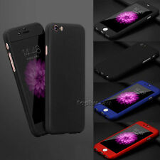 360° Full Body Hybrid Hard PC Case Cover + Tempered Glass For iPhone 6 6s 7 Plus
