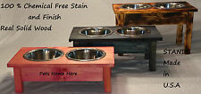 Elevated Triple Dog Bowl Feeder Raised Stand Food Water Pet Tray Dish Off Ground