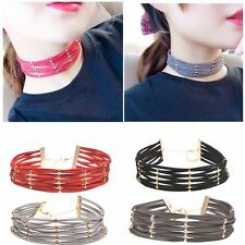 Women Gothic Velvet Necklace Cross Choker Collar Multilayer Beads Chain